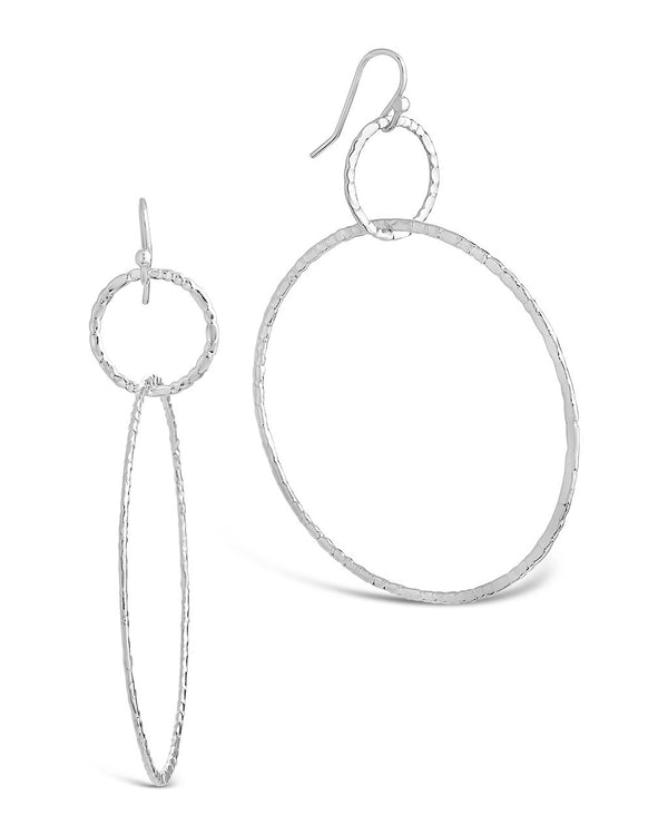Hammered Linked Hoop Dangle Earrings - Sterling Forever