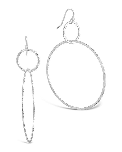 Hammered Linked Hoop Dangle Earrings