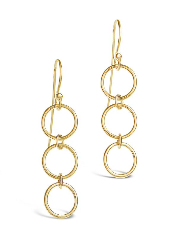 Sterling Silver Triple Circle Drop Earrings - Sterling Forever