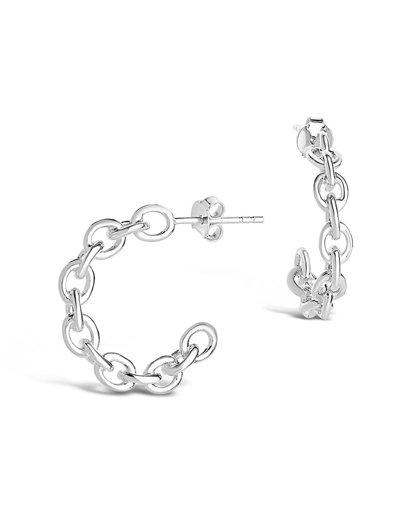 Sterling Silver Delicate Chain Hoop Earrings - Sterling Forever