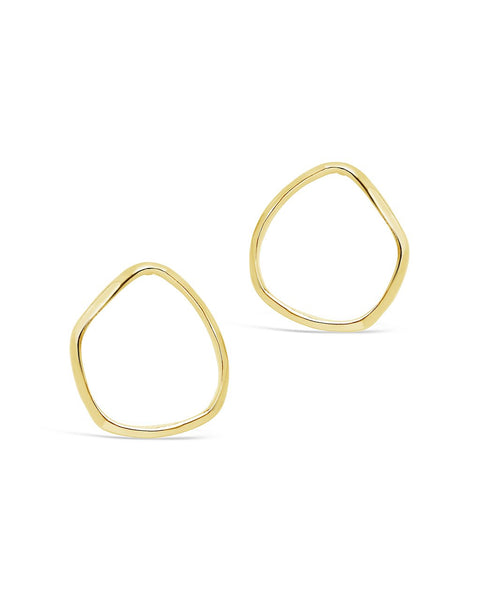 Sterling Silver Wave Circle Studs Necklace Sterling Forever Gold