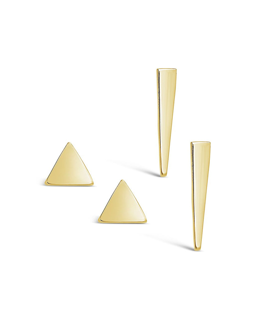 Sterling Silver Triangle Stud Earring Set of 2 - Sterling Forever