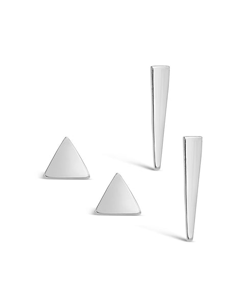 Sterling Silver Triangle Earring Set of 2 - Sterling Forever