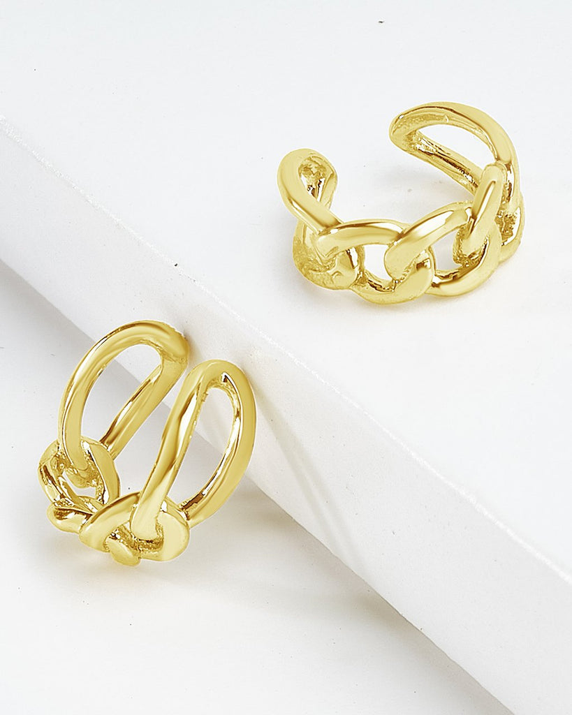 Sterling Silver Figaro Chain Ear Cuffs Earring Sterling Forever Gold