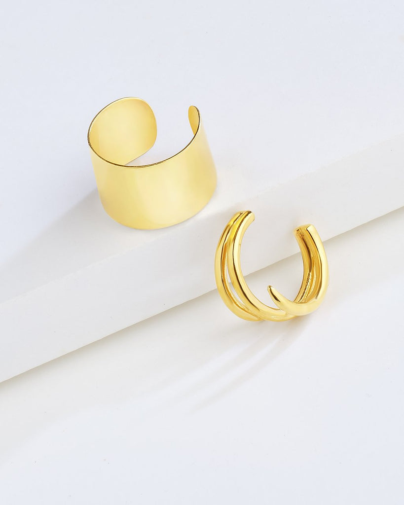 Sterling Silver Polished Ear Cuff Set of 2 Earring Sterling Forever Gold