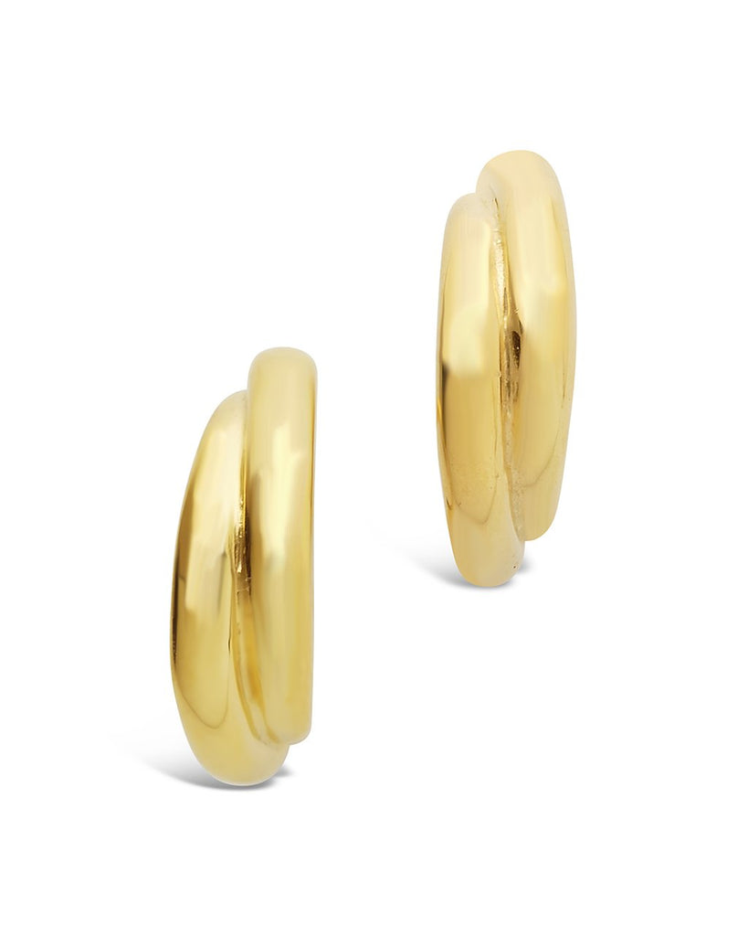 Sterling Silver Twist Stud Hoops Earring Sterling Forever Gold