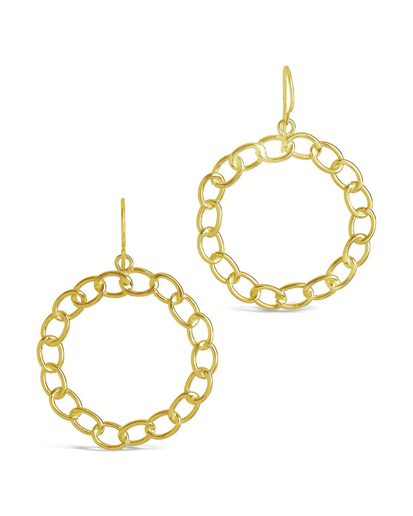 Sterling Silver Chain Link Circle Dangle Earrings Earring Sterling Forever Gold