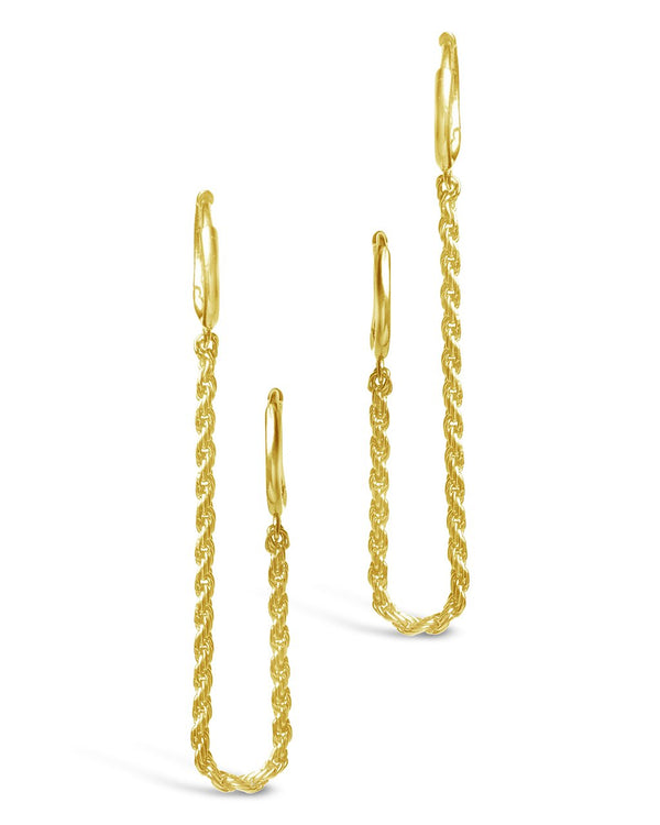 Sterling Silver Double Twist Chain Huggie Hoops Earring Sterling Forever