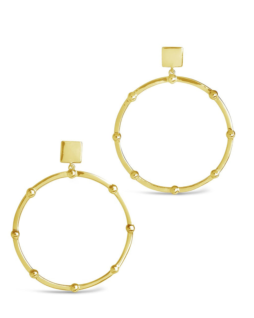 Sterling Silver Beaded Stud Hoops Earring Sterling Forever Gold