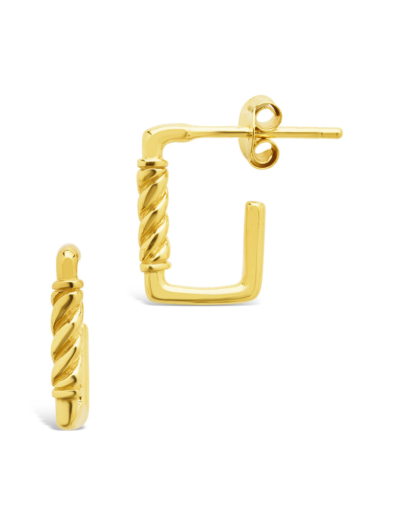 Sterling Silver Polished Rectangular Carabiner Stud Hoops Earring Sterling Forever Gold