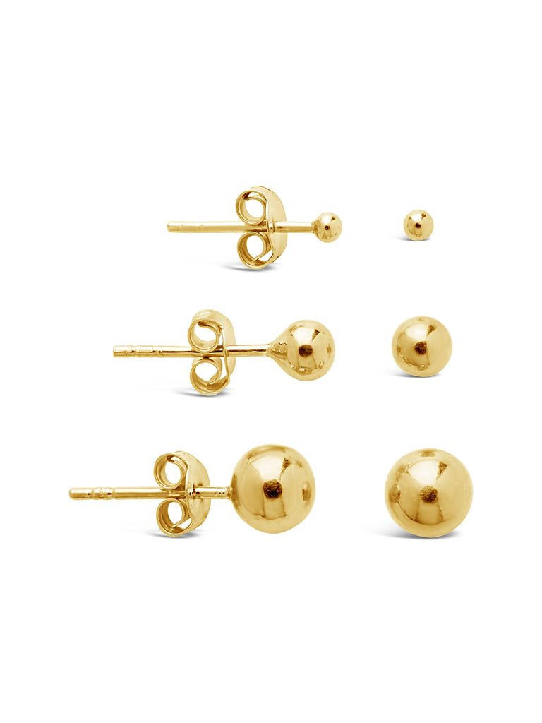 Sterling Silver Graduated Polished Sphere Stud Set Earring Sterling Forever