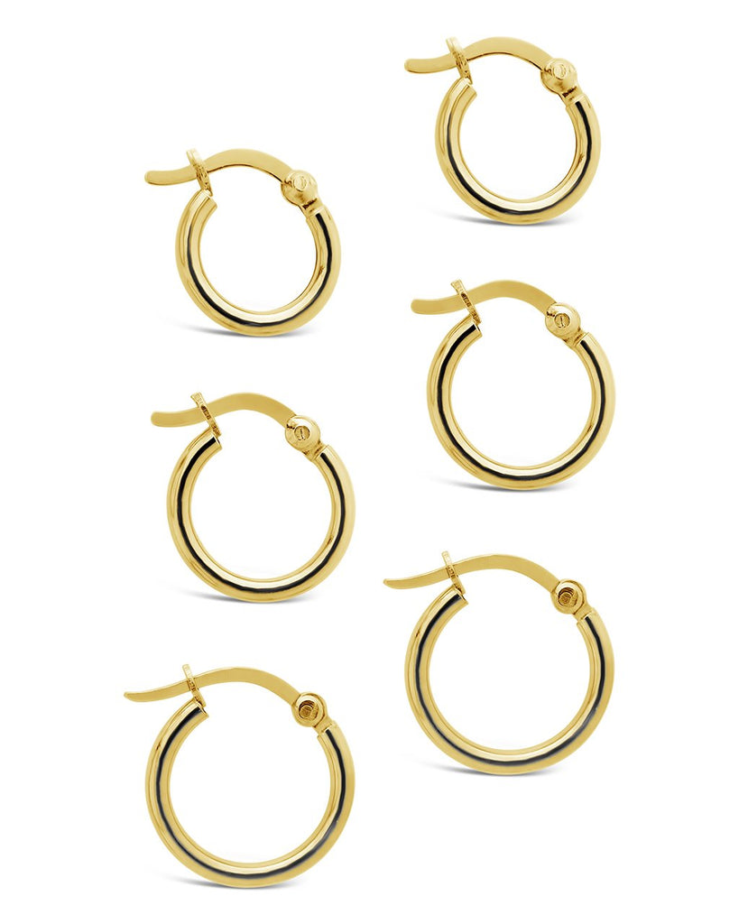 Sterling Silver Graduated Hoop Set of 3 Earring Sterling Forever Gold