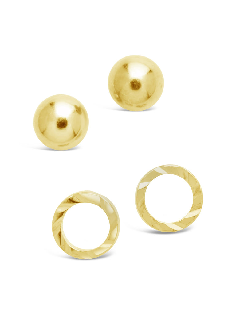 Sterling Silver Sphere & Textured Circle Stud Set of 2 Earring Sterling Forever Gold
