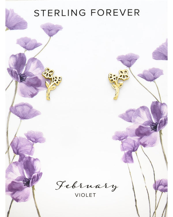 Sterling Silver Birth Flower Studs Earring Sterling Forever Gold February / Violet