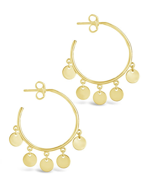 Sterling Silver Disk Charm Hoops Earring Sterling Forever Gold