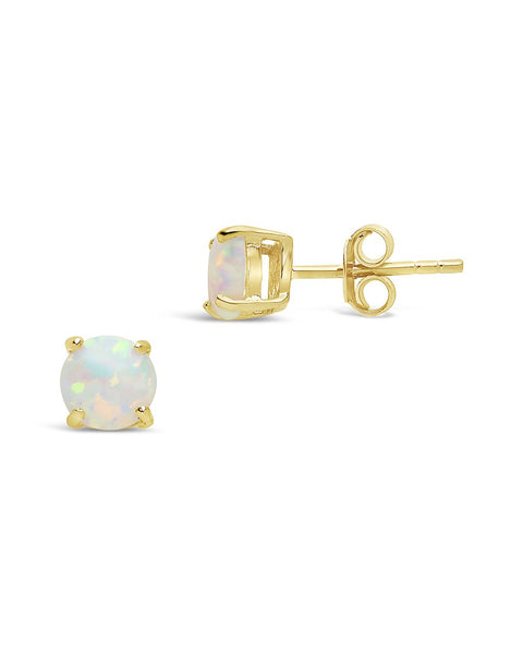 Sterling Silver 6mm Opal Studs Earring Sterling Forever