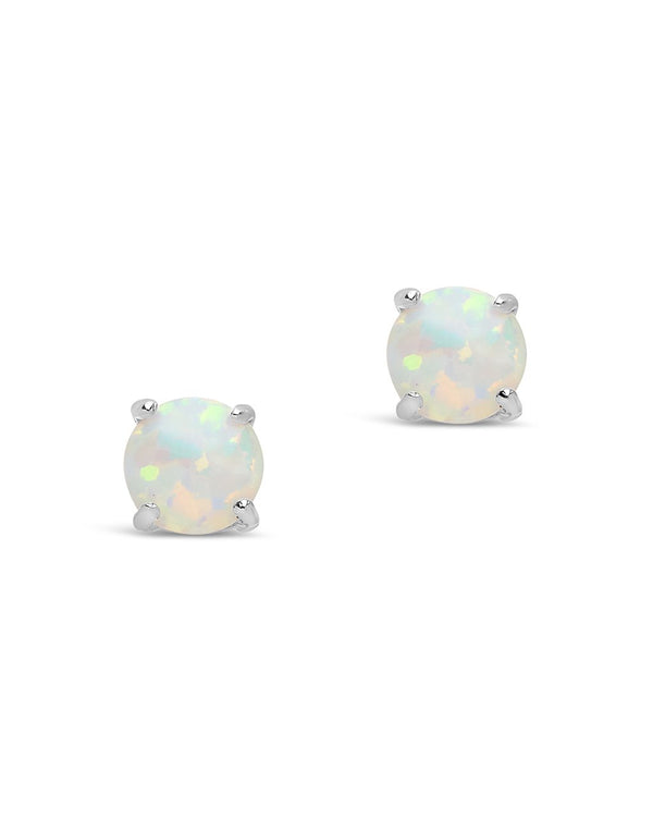 Sterling Silver 6mm Opal Studs - Sterling Forever