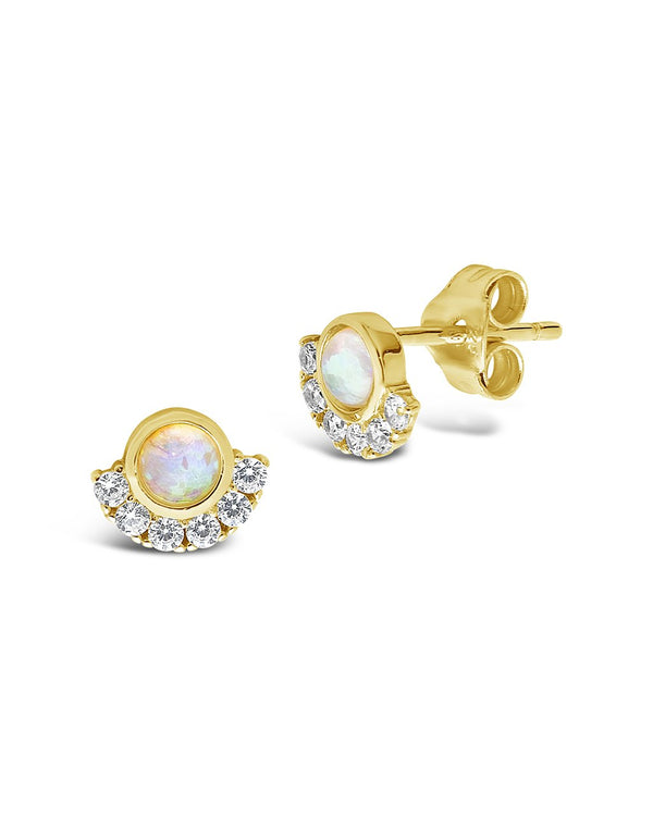 Sterling Silver Half Halo Opal Studs Earring Sterling Forever