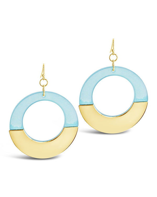 Half Resin Dangle Earrings - Sterling Forever