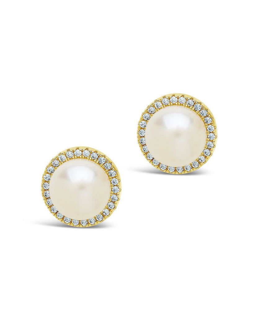 Pearl & CZ Halo Stud Earrings Earring Sterling Forever Gold