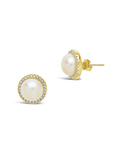 Pearl & CZ Halo Stud Earrings Earring Sterling Forever