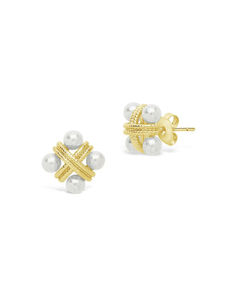 Rope & Pearl Cluster Studs Earring Sterling Forever