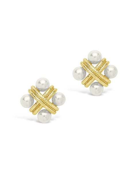 Rope & Pearl Cluster Studs Earring Sterling Forever Gold