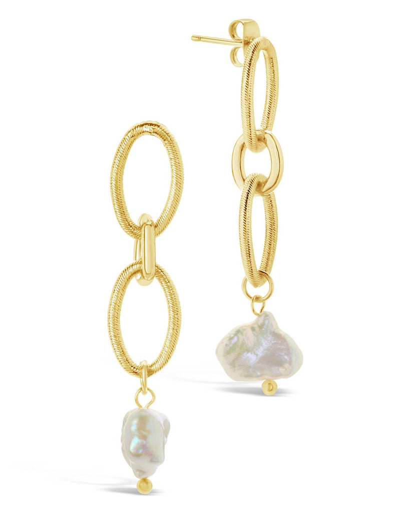 Rope Chain Link Pearl Stud Earrings - Sterling Forever