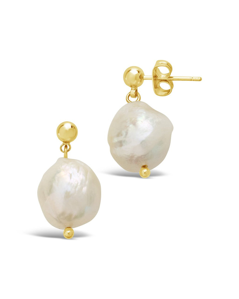 Large Single Pearl Drop Studs - Sterling Forever