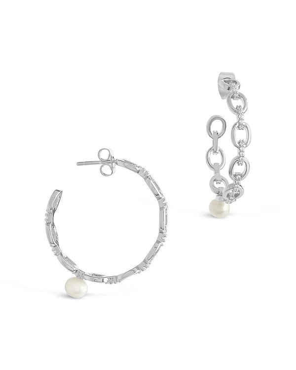 CZ Chain Link Pearl Hoops - Sterling Forever