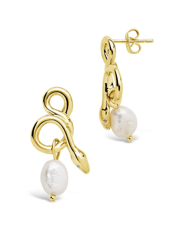 Slithering Snake & Pearl Drop Earrings - Sterling Forever
