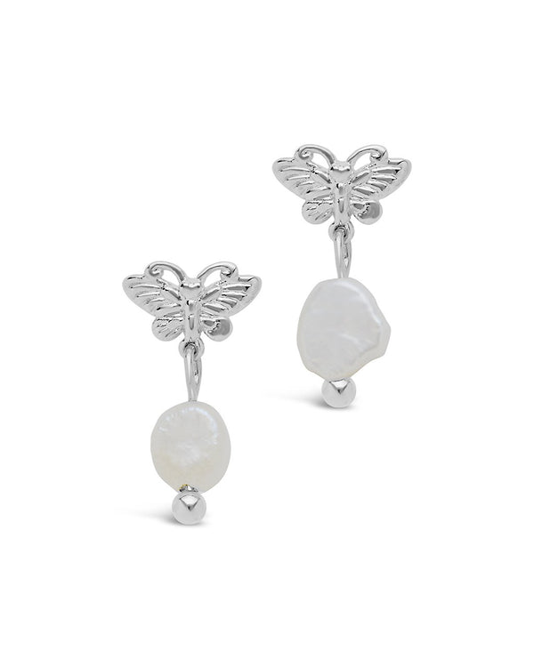 Butterfly & Pearl Stud Earrings - Sterling Forever