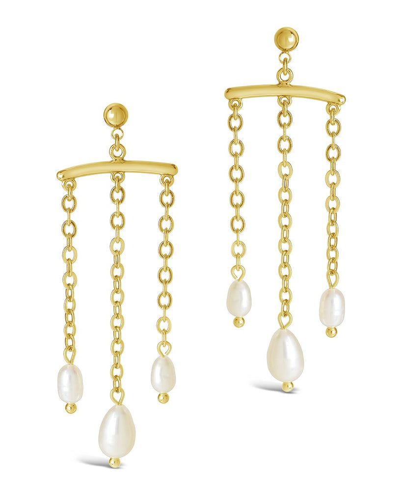 Chains & Pearls Chandelier Drop Earrings Earring Sterling Forever Gold