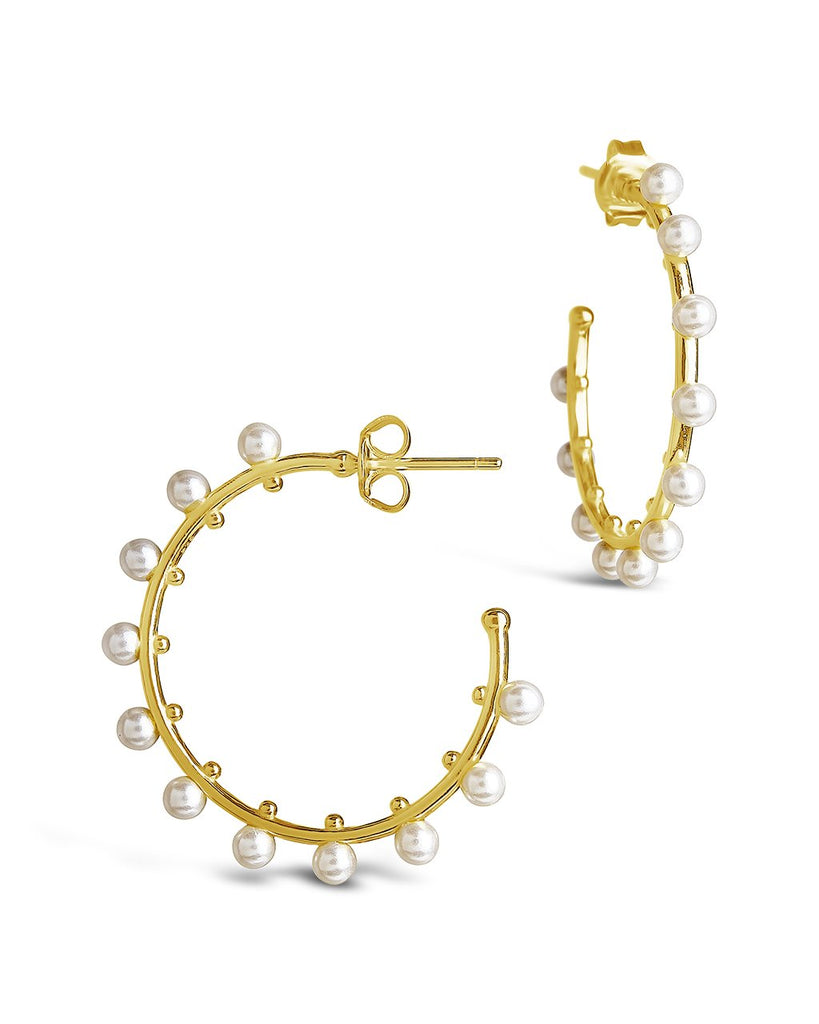 "Sterling Silver 1"" Pearl Studded Hoops Earring Sterling Forever Gold"
