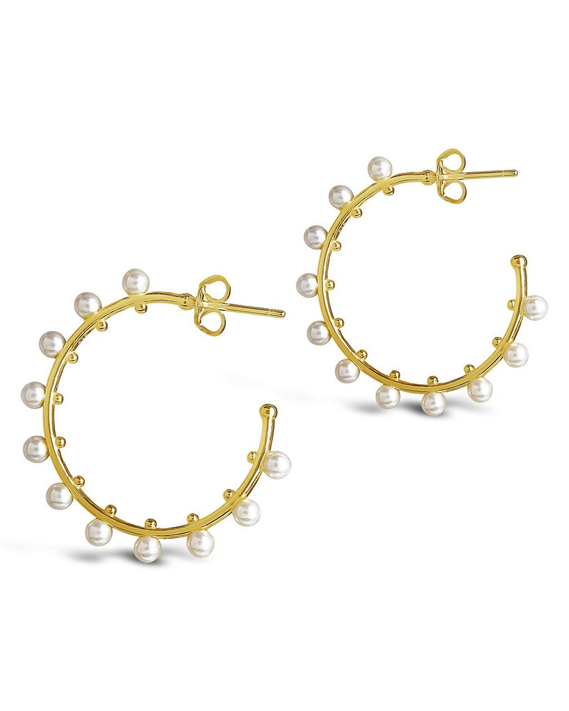 "Sterling Silver 1"" Pearl Studded Hoops Earring Sterling Forever"