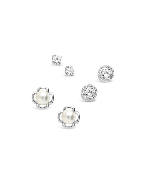 Sterling Silver Pearl & CZ Stud Set of 3 - Sterling Forever