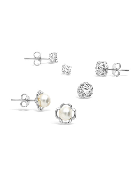 Sterling Silver Pearl & CZ Stud Set of 3 Earring Sterling Forever