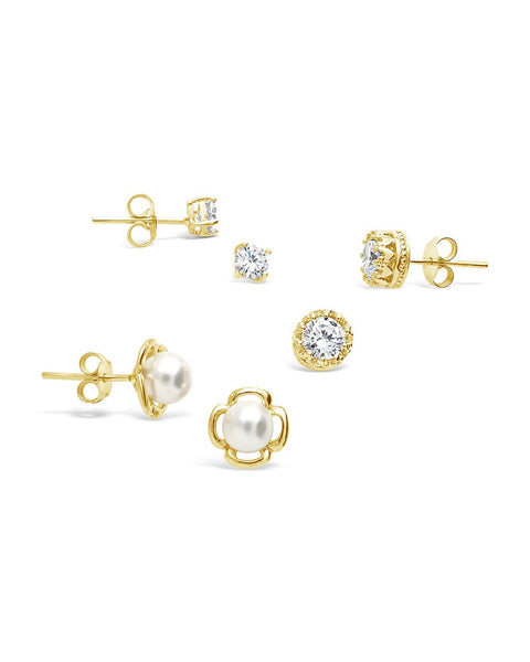 Sterling Silver Pearl & CZ Stud Set of 3