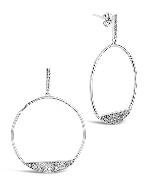 CZ Circle Stud Hoops Earring Sterling Forever
