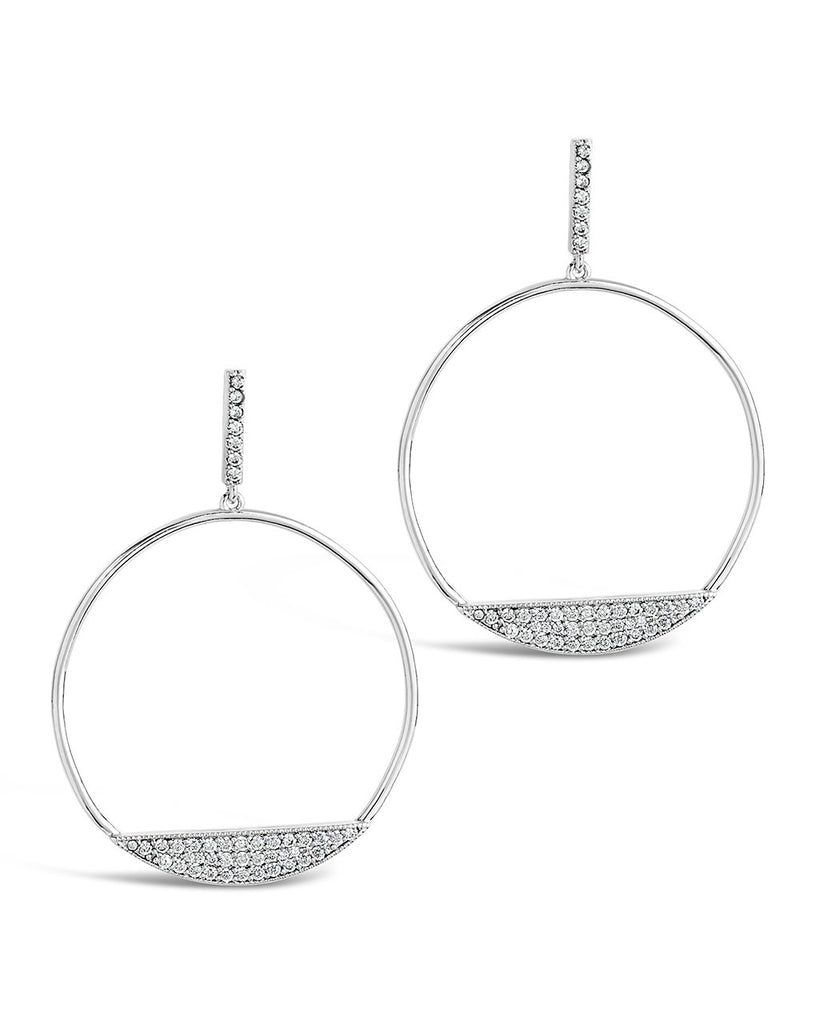 CZ Circle Stud Hoops - Sterling Forever