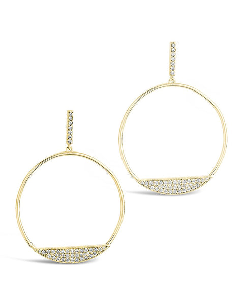 CZ Circle Stud Hoops Earring Sterling Forever Gold