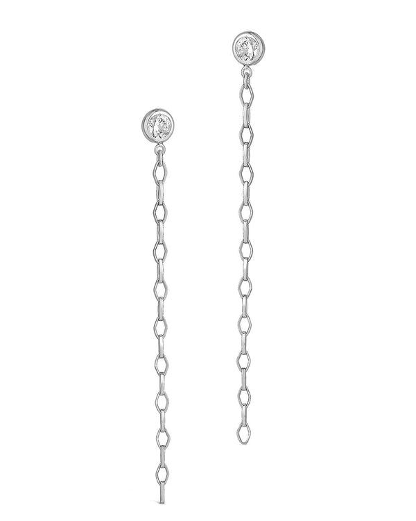 Diamond Chain Dangle Studs Earring Sterling Forever Silver