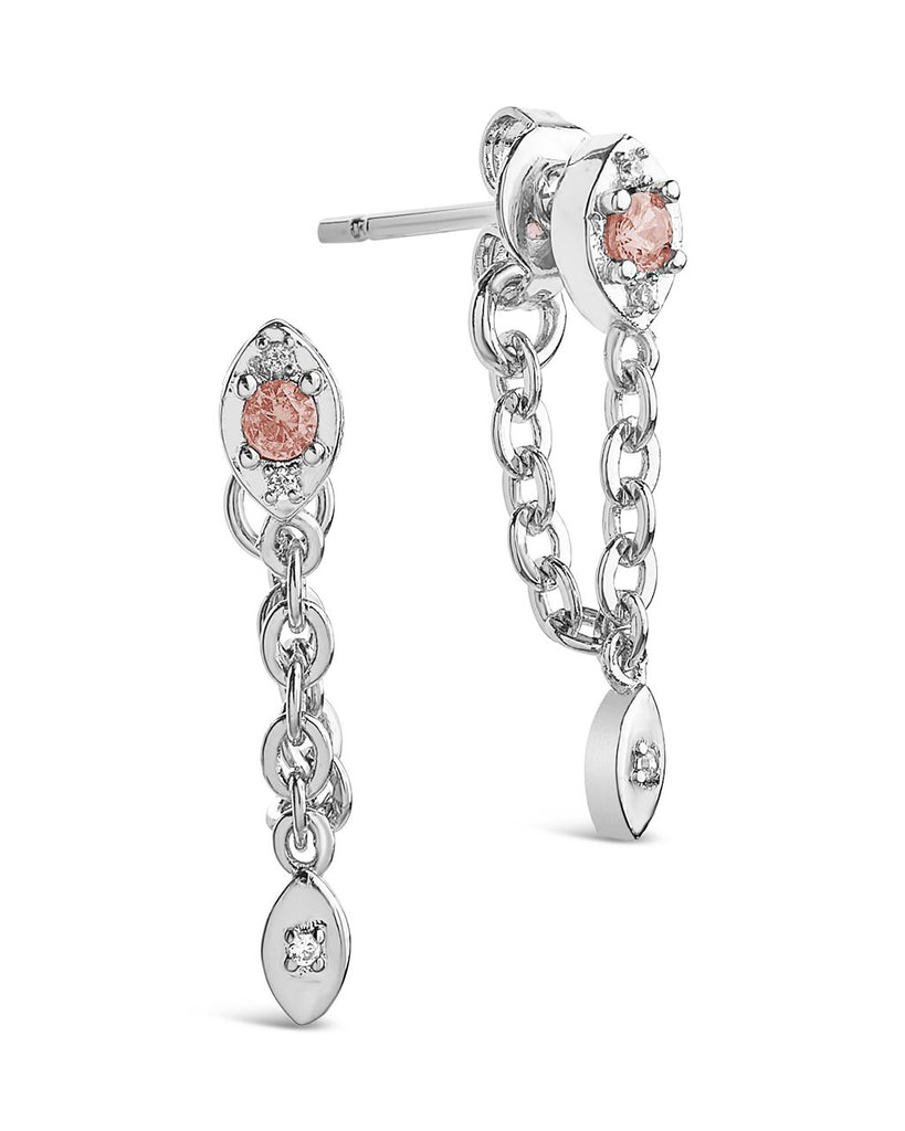 Charm and Chain Dangle Studs Earring Sterling Forever Silver Blush