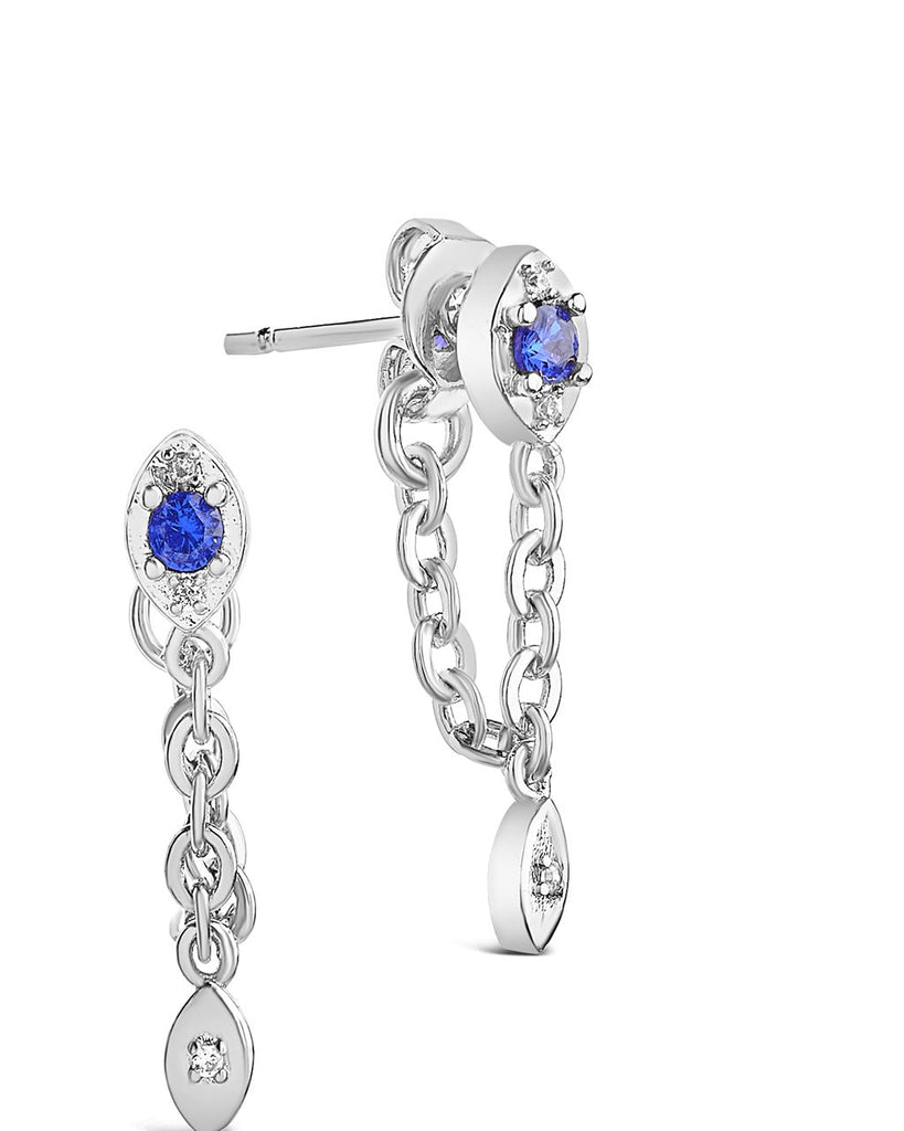Charm and Chain Dangle Studs Earring Sterling Forever Silver Blue