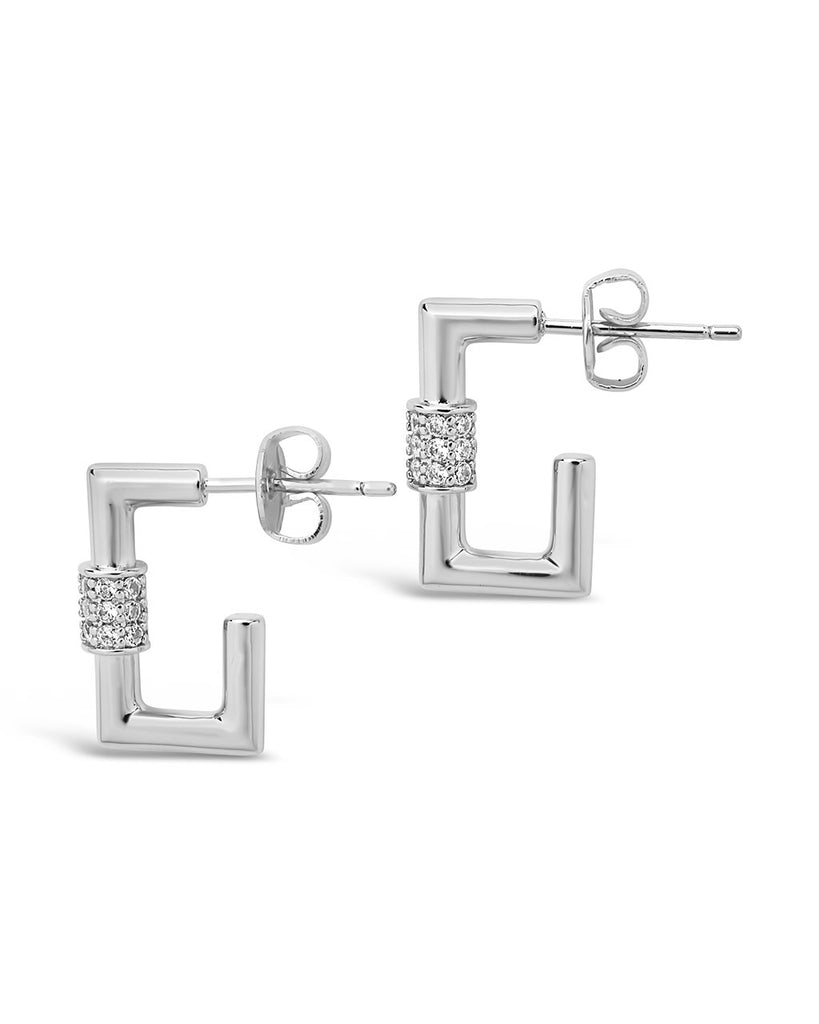 Square CZ Carabiner Clip Huggie Hoops Earring Sterling Forever Silver Clear