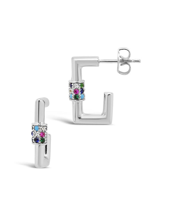 Square CZ Carabiner Clip Huggie Hoops Earring Sterling Forever Silver Multi