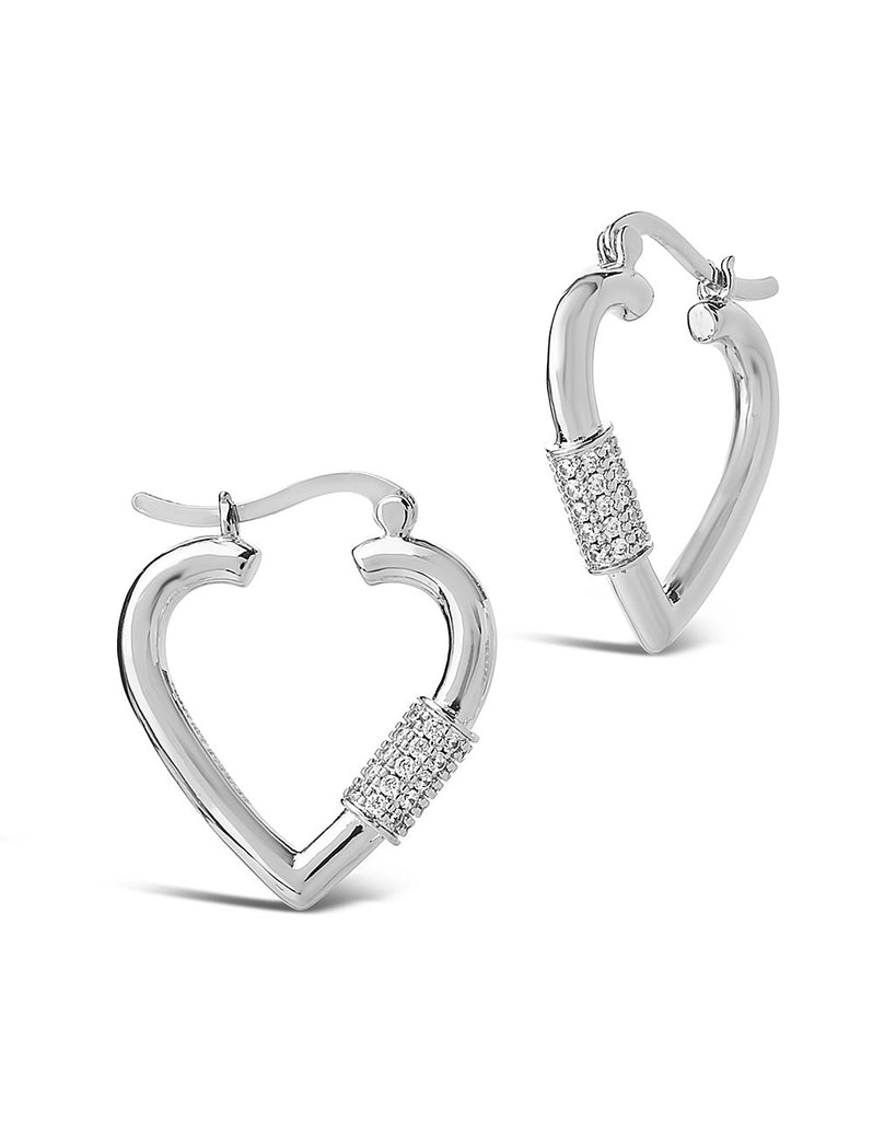 CZ Heart Carabiner Lock Hoops Earring Sterling Forever Silver Clear