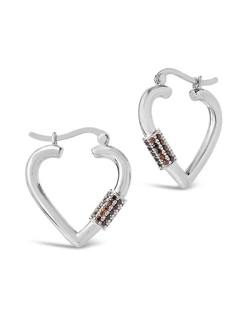 CZ Heart Carabiner Lock Hoops Earring Sterling Forever Silver Blush