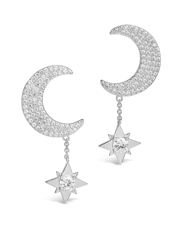 Moon & Dangle Star Studs Earring Sterling Forever Silver
