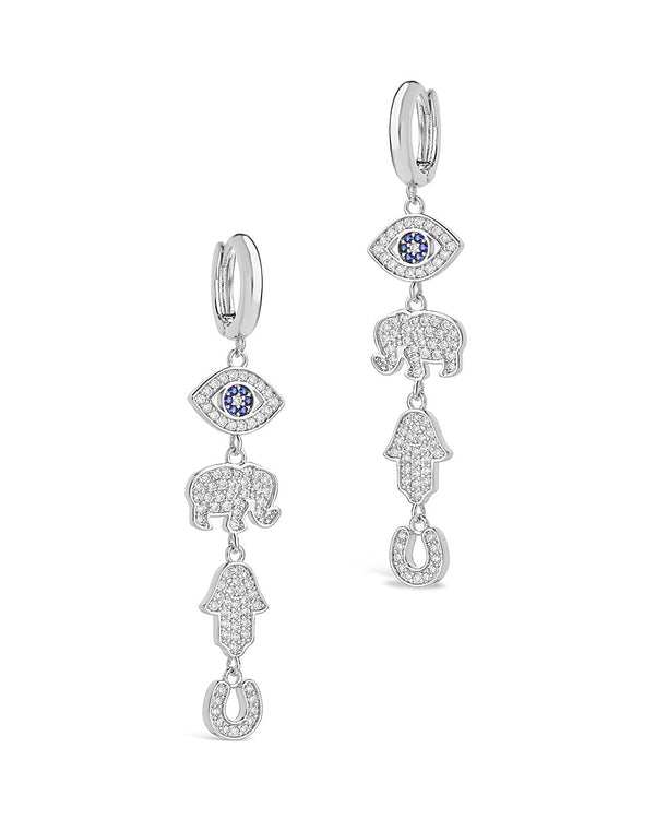 Charmed CZ Dangle Micro Hoops Earring Sterling Forever Silver